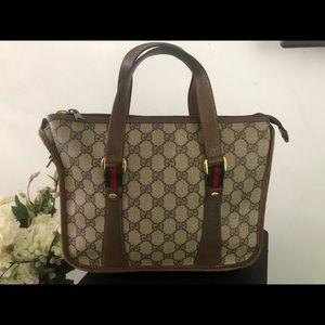 Authentic GUCCI GG Brown Web Boston Bag 39-02-039